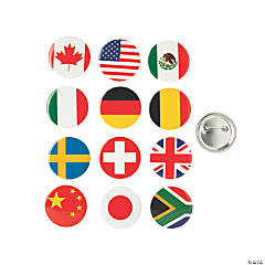 Flags of All Nations Buttons