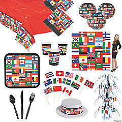 Flags of All Nations Party Tableware Kit for 12 Guests