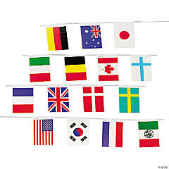 Flags of All Nations Pennant Banner