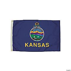 FlagZone Durawavez Nylon Outdoor Flag with Heading & Grommets - Kansas, 3' x 5'