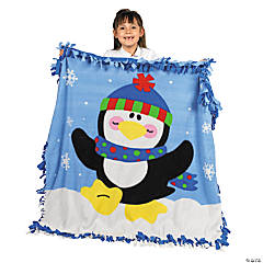 Fleece Penguin Tied Throw Craft Kit