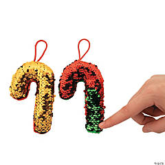 Flipping Sequin Plush Candy Cane Ornaments