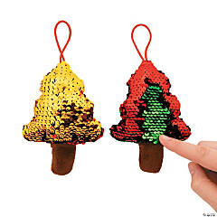 Flipping Sequin Plush Christmas Tree Ornaments PDQ