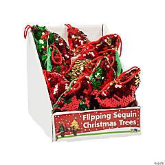 Flipping Sequin Plush Christmas Tree Ornaments PDQ