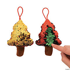 Flipping Sequin Plush Christmas Tree Ornaments