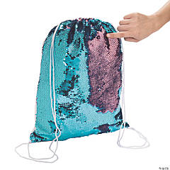 Flipping Sequin Two-Tone Drawstring Bag