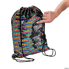Flipping Sequins Rainbow Drawstring Bag