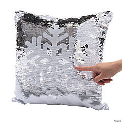 Flipping Sequins Snowflake Pillow
