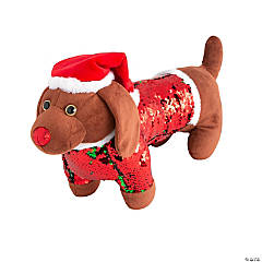 Flipping Sequins Stuffed Dog