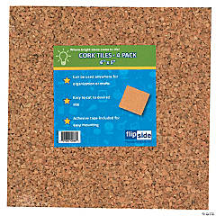"Flipside Cork Tiles, 6"" x 6"", 4/Pack, 6 Packs"
