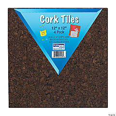 """Flipside Dark Cork Tiles, 12"""" x 12"""", 4/Pack, 3 Packs"""