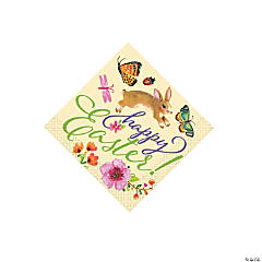 Floral Easter Bunny Beverage Napkins