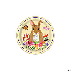Floral Easter Bunny Paper Dessert Plates - 8 Ct.