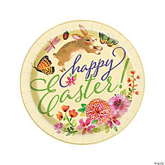 Floral Easter Bunny Paper Dinner Plates - 8 Ct.