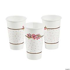 floral plaid bridal shower paper cups