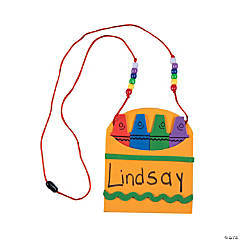 Foam Back To School Name Tag Necklace Craft Kit