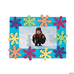 Foam Bright Snowflake Picture Frame Magnet Craft Kit