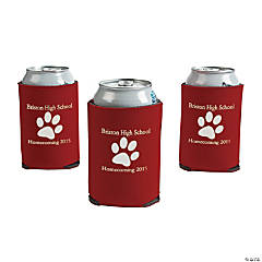 Foam Burgundy Personalized Paw Print Can Covers