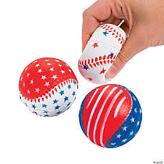 Foam Patriotic Baseball Stress Balls