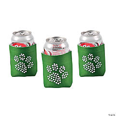 Foam Paw Print Bling Green Can Covers