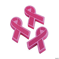 Foam Pink Ribbon Antenna Toppers