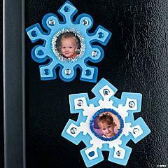 Foam Snowflake-Shaped Picture Frame Magnet Craft Kit