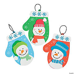 Foam Snowman Mitten Christmas Ornament Craft Kit