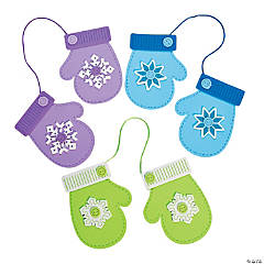 Foam Winter Mittens Christmas Ornament Craft Kit