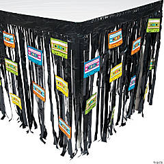 Foil 80's Party Table Skirt with Cutouts