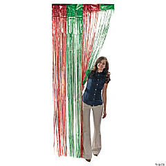 foil green red fringe curtain - Foil Christmas Door Decorations