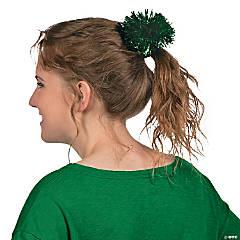Foil Team Spirit Green Metallic Hair Pom-Poms