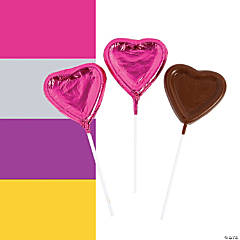 Foil-Wrapped Chocolate Heart Lollipops