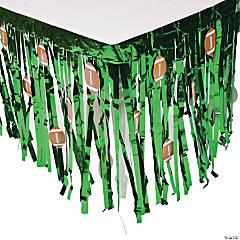 Football Foil Fringe Tableskirt with Cutouts
