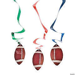 Football Hanging Swirl Decorations - 12 Pc.