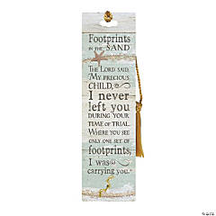 Footprints in the Sand Laminated Bookmark with Pin
