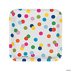 French Bull® Birthday Dots Square Dinner Plates