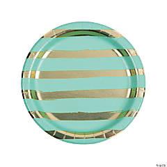 Fresh Mint & Gold Foil Striped Paper Dinner Plates