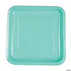 Fresh Mint Green Square Dinner Paper Plates