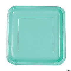 Fresh Mint Green Square Dinner Plates