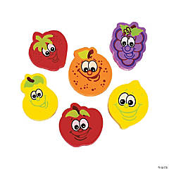 Fruit Character Erasers - 24 Pc.