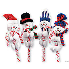 Fuzzy Felt Snowmen Candy Cane Huggers