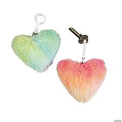 Fuzzy Heart Keychains