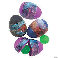 Galaxy Glow-in-the-Dark Bouncy Ball-Filled Plastic Easter Eggs - 12 Pc.