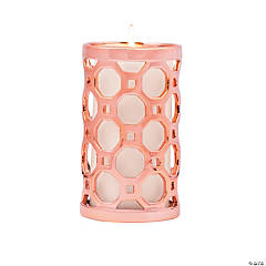 Geometric Cutout Rose Gold Candle Holder