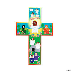 "Giant Paper ""He Lives!"" Cross-Shaped Sticker Scenes"