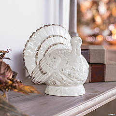 Gilded Harvest White Ceramic Turkey