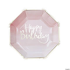 Ginger Ray Gold Foil Pink Happy Birthday Ombre Dinner Plates