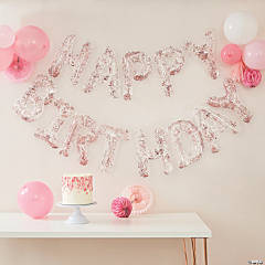 Ginger Ray Rose Gold Confetti-Filled Happy Birthday Balloon Garland