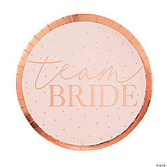 Ginger Ray Rose Gold Team Bride Paper Dinner Plates - 8 Ct.