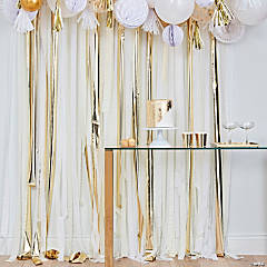 Ginger Ray White, Cream & Gold Fringe Crepe Paper Streamer Backdrop